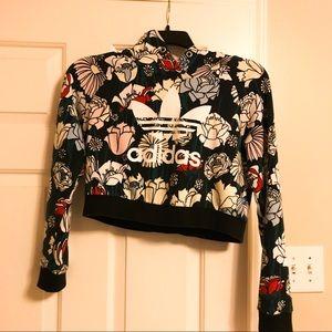 Adidas floral pattern crop top hoodie